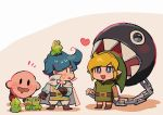 2boys animal animal_on_head aoki_(fumomo) belt belt_buckle blonde_hair blue_eyes blue_hair blush blush_stickers brown_belt brown_footwear brown_gloves buckle cape capelet chain drooling frog gloves holding holding_chain kaeru_no_tame_ni_kane_wa_naru kirby kirby_(series) link looking_at_another mario_(series) multiple_boys on_head open_mouth pointy_ears sharp_teeth standing surprised sweat sweatdrop teeth the_legend_of_zelda white_capelet