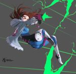 1girl 2017 absurdres action animal_print arteslav ass bodysuit breasts brown_hair bunny_print d.va_(overwatch) dated firing full_body gun handgun headphones highres hood hood_down jacket jumping long_hair medium_breasts muzzle_flash open_clothes open_jacket overwatch pilot_suit pistol ribbed_bodysuit skin_tight solo weapon whisker_markings wireless