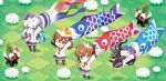 4girls akatsuki_(kantai_collection) anchor_symbol black_hair black_legwear black_sailor_collar black_skirt blue_eyes brown_eyes brown_hair carnelian checkered chibi clouds commentary_request fang folded_ponytail grass hair_ornament hairclip hibiki_(kantai_collection) highres ikazuchi_(kantai_collection) inazuma_(kantai_collection) kantai_collection kashiwa_mochi_(food) kneehighs kodomo_no_hi koinobori long_hair long_sleeves multiple_girls neckerchief one_eye_closed pantyhose paper_hat paper_kabuto pleated_skirt red_neckwear sailor_collar school_uniform serafuku shirt short_hair silver_hair skirt standing thigh-highs white_shirt x_x