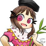 1girl al_bhed_eyes avatar_icon black_headwear brown_hair chamaji commentary eyebrows_visible_through_hair hat holding_plant looking_at_viewer lowres myouga_(plant) nishida_satono open_mouth short_hair short_hair_with_long_locks short_sleeves signature smile solo tate_eboshi touhou upper_body white_background