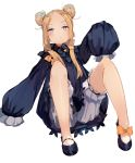 1girl abigail_williams_(fate/grand_order) bangs black_bow black_dress blonde_hair blue_eyes blush bow breasts dress fate/grand_order fate_(series) forehead hair_bow highres long_hair looking_at_viewer multiple_bows orange_bow parted_bangs ribbed_dress sleeves_past_fingers sleeves_past_wrists small_breasts solo tota_(sizukurubiks)
