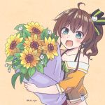 1girl ahoge artist_name bare_shoulders blue_eyes blush bouquet brown_hair camisole cat_hair_ornament collarbone commentary congratulations cropped_jacket english_commentary eyebrows_visible_through_hair flower hair_between_eyes hair_ornament hair_ribbon halter_top halterneck highres holding holding_bouquet hololive jacket kukie-nyan looking_at_viewer medium_hair midriff mixed-language_commentary natsuiro_matsuri off-shoulder_jacket open_mouth orange_background orange_jacket ribbon side_ponytail simple_background smile solo sunflower twitter_username upper_body virtual_youtuber