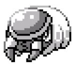 commentary creature english_commentary full_body gen_7_pokemon greyscale grubbin lowres monochrome no_humans pat_attackerman pixel_art pokemon pokemon_(creature) solo sprite transparent_background