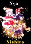 2girls artist_name belt_buckle beyblade beyblade:_burst blue_eyes breasts bright_pupils buckle chankyone character_name cover cover_page dress foliage gloves happy hat highres legs long_hair magical_girl multiple_girls nishiro_nya open_mouth orange_hair red_dress shiny shiny_hair shirt short_twintails simple_background skirt small_breasts surprised twintails violet_eyes wand white_gloves white_shirt