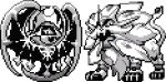 commentary creature english_commentary flying full_body gen_7_pokemon greyscale legendary_pokemon looking_at_viewer lunala monochrome no_humans pat_attackerman pixel_art pokemon pokemon_(creature) solgaleo sprite standing transparent_background