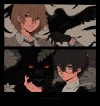 2boys akechi_gorou amamiya_ren animal animal_on_hand bird bird_on_hand black_bird black_border black_cat black_feathers black_gloves black_hair border brown_eyes brown_hair brown_jacket cat closed_mouth collar collared_jacket collared_shirt crow feathers glasses gloves grey_eyes ivxxx jacket long_sleeves looking_at_viewer male_focus multiple_boys necktie panther persona persona_5 red_eyes round_eyewear shirt short_hair smile striped striped_neckwear sweater turtleneck turtleneck_sweater upper_body white_shirt