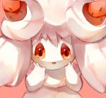 :d alcremie alcremie_(strawberry_sweet) alcremie_(vanilla_cream) commentary creature english_commentary food fruit gen_8_pokemon jaibus looking_at_viewer no_humans open_mouth pink_background pokemon pokemon_(creature) red_eyes simple_background smile solo strawberry upper_body