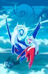 2018 blue_sky clouds cloudy_sky commentary creature day english_commentary flying full_body galahawk gen_3_pokemon highres latias latios legendary_pokemon looking_at_viewer no_humans outdoors pokemon pokemon_(creature) sky