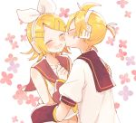 1boy 1girl arm_warmers arms_around_waist bangs bare_shoulders black_collar blush bow cheek_kiss closed_eyes collar commentary crop_top floral_background hair_bow hair_ornament hairclip hand_on_another's_shoulder hands_up headphones kagamine_len kagamine_rin kiss midriff navel open_mouth sailor_collar school_uniform shirt short_hair short_ponytail short_sleeves smile spiky_hair suzumi_(fallxalice) swept_bangs upper_body vocaloid white_bow white_shirt yellow_neckwear