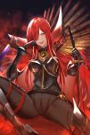 1girl armor armored_boots belt black_gloves boots bow breasts cape chain fate/grand_order fate_(series) fire gloves greaves hair_over_one_eye high_heels highres holding holding_sword holding_weapon kakumayu katana long_hair looking_at_viewer oda_nobunaga_(fate)_(all) oda_nobunaga_(maou_avenger)_(fate) open_mouth red_eyes redhead revision sharp_teeth sitting smile spread_legs sword teeth very_long_hair weapon