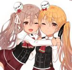 2girls alternate_hairstyle artist_name ascot black_corset blonde_hair bow bowtie brown_eyes brown_hair corset hat highres kantai_collection long_hair long_sleeves mini_hat multiple_girls one_eye_closed open_mouth pleated_skirt pola_(kantai_collection) red_bow red_neckwear red_skirt sazamiso_rx shirt side_ponytail signature simple_background skirt smile thigh-highs wavy_hair white_background white_headwear white_legwear white_shirt zara_(kantai_collection)