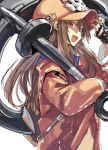 1girl anchor backpack bag black_gloves brown_background brown_eyes brown_hair eyebrows_visible_through_hair fingerless_gloves gloves guilty_gear hat highres holding holding_weapon hood hood_down hoodie ikuhana_niiro long_hair may_(guilty_gear) open_clothes open_hoodie open_mouth orange_headwear over_shoulder simple_background sketch smile solo upper_body weapon weapon_over_shoulder white_background