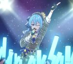 1girl aqua_hair arm_up artist_name belt beret black_gloves blue_choker blue_eyes blue_neckwear blue_ribbon blush bracelet choker commentary concert cowboy_shot crowd crown double-breasted dress english_commentary eyebrows_visible_through_hair fingerless_gloves flat_chest gloves glowstick hair_between_eyes hair_ribbon hat hololive hoshimachi_suisei index_finger_raised jewelry kukie-nyan looking_at_viewer medium_hair microphone mini_crown mixed-language_commentary music necktie one_eye_closed open_mouth plaid plaid_dress plaid_hat ribbon short_necktie side_ponytail singing smile solo_focus stage_lights star star_in_eye symbol_in_eye twitter_username virtual_youtuber wing_collar
