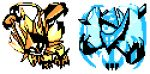 commentary creature english_commentary full_body gen_7_pokemon legendary_pokemon multiple_monochrome necrozma necrozma_(dawn_wings) necrozma_(dusk_mane) no_humans pat_attackerman pokemon pokemon_(creature)