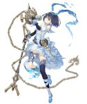 1girl alice_(sinoalice) bare_shoulders blue_dress chain crossover dark_blue_hair dress elbow_gloves eyebrows_visible_through_hair full_body gems_company gloves hairband ji_no looking_at_viewer mary_janes microphone official_art pocket_watch shoes short_hair sinoalice solo tattoo transparent_background watch yellow_eyes