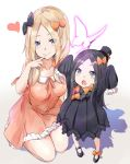 2girls abigail_williams_(fate/grand_order) arms_up bangs black_bow black_dress black_headwear black_legwear blonde_hair blue_eyes blush bow breasts bug butterfly closed_mouth dress fate/grand_order fate_(series) forehead hair_bow hat heart highres insect kneeling large_breasts long_hair long_sleeves looking_at_viewer mother_and_daughter multiple_bows multiple_girls older open_mouth orange_bow orange_dress parted_bangs polka_dot polka_dot_bow saku_(kudrove) short_sleeves simple_background sleeves_past_fingers sleeves_past_wrists smile thighs white_background white_bloomers