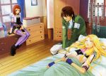 1boy 2girls bandages bedroom black_footwear black_gloves black_shorts blonde_hair blue_gloves blush boots brown_eyes brown_hair closed_eyes closed_mouth densetsu_no_yuusha_no_densetsu ferris_eris fingerless_gloves frown gloves green_shirt hair_between_eyes hand_on_lap highres hood hood_down hooded_sweater indoors kiefer_knolles leaning_forward long_hair multiple_girls novel_illustration official_art pants parted_lips purple_legwear red_eyes ryner_lute scan shiny shiny_hair shirt short_shorts shorts sitting sleeping sweater thigh-highs torn_clothes torn_shirt toyota_saori very_long_hair white_pants