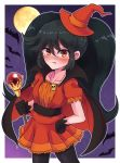 ashley_(warioware) bat black_gloves black_hair black_legwear blush cape dress gloves halloween hat highres long_hair looking_at_viewer moon red_dress red_eyes red_headwear skull_necklace twintails wakaba_(wata_ridley) wand warioware witch_costume witch_hat