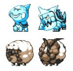braid chewtle commentary creature drednaw dubwool english_commentary full_body gen_8_pokemon horns multiple_monochrome no_humans pat_attackerman pixel_art pokemon pokemon_(creature) sheep sprite transparent_background twin_braids wooloo