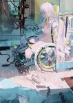 1girl aamond amputee blue_eyes closed_mouth cyborg green_hair highres long_hair mechanical mechanical_arm mechanical_leg mechanical_parts multicolored multicolored_hair navel original sitting solo wheelchair white_hair