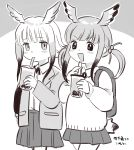 2girls :d alternate_costume bangs blunt_bangs blush bubble_tea child commentary_request cup disposable_cup eyebrows_visible_through_hair greyscale hair_bobbles hair_ornament head_wings highres jacket japanese_crested_ibis_(kemono_friends) kemono_friends long_sleeves monochrome multicolored_hair multiple_girls open_clothes open_jacket open_mouth scarlet_ibis_(kemono_friends) short_hair_with_long_locks sidelocks simple_background skirt smile suicchonsuisui tail twintails younger