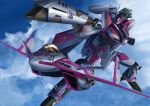 1girl aiming canards canopy clouds cockpit commentary derivative_work energy_cannon flying helmet i.t.o_daynamics macross macross_delta mecha mirage_farina_jenius pilot pilot_suit science_fiction shiny variable_fighter vf-31 vf-31c zentlardy_alphabet