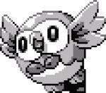 bird bird_focus commentary english_commentary full_body gen_7_pokemon lowres pat_attackerman pixel_art pokemon pokemon_(creature) rowlet solo sprite transparent_background