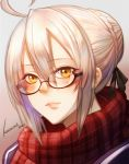 1girl ahoge artoria_pendragon_(all) bangs black-framed_eyewear black_ribbon braid brown_background brown_hair closed_mouth commentary_request eyebrows_visible_through_hair fate/grand_order fate_(series) glasses gradient gradient_background grey_background hair_between_eyes hair_bun hair_ribbon highres kosumi looking_at_viewer mysterious_heroine_x_(alter) plaid plaid_scarf red_scarf ribbon scarf semi-rimless_eyewear sidelocks signature solo under-rim_eyewear upper_body yellow_eyes
