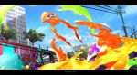 blue_sky building copyright_name ink inkling jumping letterboxed no_humans otsumami_(bu-bu-heaven) paint_splatter pole sky splatoon_(series) squid tree