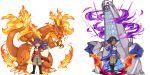 2boys charizard commentary_request dande_(pokemon) dragon duraludon gen_1_pokemon gen_8_pokemon gigantamax gigantamax_charizard gigantamax_duraludon kibana_(pokemon) multiple_boys pixel_art pokemon pokemon_(game) pokemon_swsh sprite
