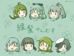 6+girls :d ;d aqua_hair black_ribbon bob_cut braid chibi clover color_connection crescent crescent_hair_ornament eyebrows_visible_through_hair eyepatch flat_cap four-leaf_clover green_background green_hair hair_color_connection hair_ornament hair_ribbon hairclip hat kantai_collection kiso_(kantai_collection) long_hair mole mole_under_mouth multiple_girls nagatsuki_(kantai_collection) one_eye_closed open_mouth outsideyes ponytail remodel_(kantai_collection) ribbon short_hair sidelocks smile suzuya_(kantai_collection) takanami_(kantai_collection) trait_connection twitter_username white_ribbon yamakaze_(kantai_collection) yuubari_(kantai_collection) yuugumo_(kantai_collection) |_|