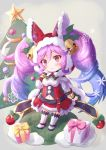 1girl blue_hair blush box breasts chibi christmas christmas_tree cleo_(dragalia_lost) cocoasabure commentary_request dragalia_lost eyebrows_visible_through_hair gift gift_box gradient_hair grey_background highres hood large_breasts looking_at_viewer multicolored_hair navel ornament pink_eyes purple_hair santa_costume simple_background smile snowflakes solo twintails white_legwear