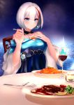 1girl admiral_graf_spee_(a_novel_anniversary)_(azur_lane) admiral_graf_spee_(azur_lane) azur_lane bare_shoulders blue_bow blue_dress blue_eyes bow breasts broccoli cacaofire candle cherry_tomato closed_mouth collarbone commentary cup dress drinking_glass earrings eating english_commentary eyebrows_visible_through_hair eyelashes flower food fork hair_between_eyes hand_on_own_chest highres jewelry looking_at_viewer medium_breasts multicolored_hair night night_sky off-shoulder_dress off_shoulder pasta plate potato potato_wedges red_wine redhead shawl short_hair silver_hair sky smile solo spaghetti star_(sky) starry_sky steak streaked_hair table tomato two-tone_hair wine_glass