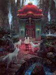 1girl animal black_hair commentary_request fantasy from_behind grass highres lamp leggings long_hair noba original outdoors pavement rock scenery shirt shrine solo standing statue tree water waterfall white_shirt wolf
