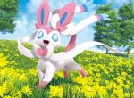 3d 5ban_graphics :d blue_eyes blue_sky clouds cloudy_sky commentary creature day english_commentary flower full_body gen_6_pokemon grass happy looking_at_viewer multiple_sources no_humans official_art open_mouth outdoors pokemon pokemon_(creature) pokemon_trading_card_game sky smile solo sylveon third-party_source tree