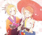 1boy 1girl ame_(module) arm_guards blonde_hair blue_eyes blue_robe bow cherry_blossoms closed_eyes commentary crossdressing falling_petals flower_tattoo hair_ornament hair_stick hand_on_another's_head hand_up holding holding_umbrella japanese_clothes kagamine_len kagamine_rin kimono obi open_mouth orange_kimono oriental_umbrella petals phoenix_moon_(module) project_diva_(series) red_umbrella sarashi sash shoulder_tattoo smile suzumi_(fallxalice) tattoo umbrella vocaloid white_background