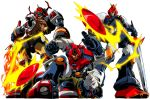 choudenji_machine_voltes_v choudenji_robo_combattler_v combattler_v_(robot) daltanious fighting_stance fire flaming_sword flaming_weapon lightning_bolt looking_down mecha mirai_robo_daltanious nakazakitow robot super_robot sword voltes_v_(mecha) weapon white_background
