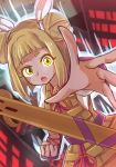 1girl :o abstract_background armor armored_dress arms_up aura bangs blonde_hair bob_cut cityscape clenched_hand double_bun dutch_angle foreshortening hair_ribbon haniwa_(statue) joutouguu_mayumi looking_at_viewer outstretched_hand puffy_short_sleeves puffy_sleeves reaching_out ribbon shirt short_hair short_sleeves solo standing touhou upper_body vambraces white_shirt wool_(miwol) yellow_eyes