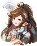 1girl ahoge aqua_eyes brown_hair granblue_fantasy hammer harvin holding holding_weapon meito_(maze) open_mouth pointy_ears polaris_(granblue_fantasy) smile solo weapon