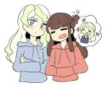alternate_costume blonde_hair blue_eyes blue_sweater blush brown_hair cailin_(poptrt) closed diana_cavendish embarrassed eyes happy kagari_atsuko little_witch_academia long_hair red_sweater saliva simple_background sleeping smile sweater wavy_hair white_background yuri