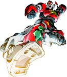 clenched_hand daimos daimos_(mecha) drop_kick mecha open_hand open_mouth robot shouting super_robot white_background yellow_eyes