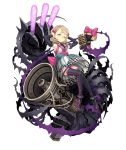 1girl blonde_hair bow briar_rose_(sinoalice) covering_ears crossover detached_sleeves full_body gems_company glowstick hair_bow ji_no looking_at_viewer megaphone microphone official_art one_eye_closed plant sinoalice solo thigh-highs thorns transparent_background vines yellow_eyes