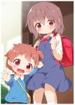 2girls :d backpack bag blue_dress blue_shirt blurry blurry_background blush bow brown_eyes brown_hair brown_skirt closed_mouth collared_shirt commentary_request depth_of_field dress fang hands_up highres holding_strap hoshino_hinata hoshino_miyako_(wataten) kindergarten_bag kindergarten_uniform long_sleeves looking_at_viewer looking_back makuran multiple_girls one_side_up open_mouth randoseru red_bow red_eyes school_uniform shirt shoulder_bag siblings sisters skirt sleeveless sleeveless_dress smile socks watashi_ni_tenshi_ga_maiorita! white_legwear white_shirt younger