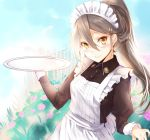 1girl alternate_costume alternate_hairstyle apron black_dress brown_eyes commentary_request dress enmaided grey_hair hair_between_eyes hair_ribbon haruna_(kantai_collection) highres holding holding_tray kantai_collection kyougoku_touya long_hair looking_at_viewer maid maid_apron maid_dress maid_headdress ponytail ribbon smile solo tray upper_body
