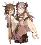 2girls ankle_strap antenna_hair arknights bangs bare_legs barefoot black-framed_eyewear black_skirt brown_hair carrying chinese_commentary commentary_request cowboy_shot earrings eyebrows_visible_through_hair glasses highres horns jewelry lanyue long_hair long_sleeves looking_at_another multiple_girls orange_eyes parted_lips princess_carry saria_(arknights) shirt short_hair silence_(arknights) silver_hair simple_background skirt smile standing stud_earrings thighs v-shaped_eyebrows white_background white_shirt wide_sleeves yellow_eyes