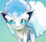 alolan_form alolan_vulpix blue_background blue_eyes commentary creature english_commentary gen_7_pokemon gradient gradient_background jaibus pokemon pokemon_(creature) solo upper_body