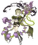1boy ahoge bare_shoulders belt black_gloves capelet chain full_body gloves green_eyes green_hair half_gloves hat holding holding_staff ji_no long_nose looking_at_viewer navel official_art pinocchio_(sinoalice) platform_footwear shoes shorts sinoalice sneakers solo staff tongue tongue_out transparent_background