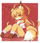 :3 ahoge animal_ears barefoot blonde_hair blush borrowed_character commentary_request fox fox_ears fox_girl fox_tail furry japanese_clothes koko_(kishibe) long_hair miko original red_background slit_pupils tail tongue tongue_out tsuji two-tone_fur white_fur wide_sleeves yellow_eyes yellow_fur