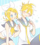 1boy 1girl bangs black_collar black_shorts blonde_hair blue_eyes bow closed_eyes collar commentary crop_top failure food hair_bow hair_ornament hairclip headphones holding holding_food kagamine_len kagamine_rin nail_polish neckerchief necktie open_mouth popsicle sailor_collar school_uniform sharing_food shirt short_hair short_ponytail short_shorts short_sleeves shorts sitting smile spiky_hair suzumi_(fallxalice) swept_bangs vocaloid white_bow white_shirt yellow_nails yellow_neckwear