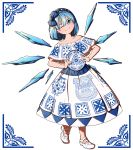 1girl ;) adapted_costume blue_eyes blue_hair bow cirno collarbone commentary_request dress eyebrows_visible_through_hair fairy_wings full_body hair_between_eyes hair_bow hairband highres ice ice_wings looking_at_viewer mary_janes mefomefo mexican_dress mexico no_socks off-shoulder_dress off_shoulder one_eye_closed plate shoes short_hair simple_background sleeveless smile solo spanish_commentary touhou white_background white_dress wings